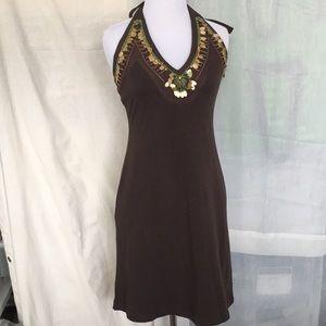VS MODA chocolate brown beaded halter neck dress S
